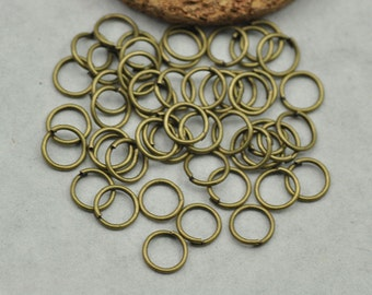 50 pc - 8mm Bronze Jump Rings / Open Jump rings Bracelet Charm Connector Jewelery Making Jewelry Findings