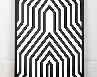 Geometric poster print, Geometric art, Black and white, Black lines, Minimalist print, Modern home, Modernist art, Mid century modern, Print