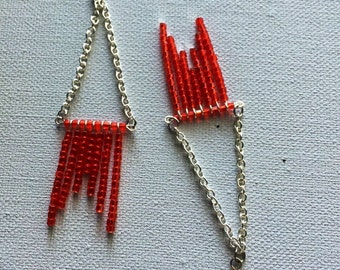 Red Trapeze Earrings - Red Seed Bead Long Trapeze Style Earrings