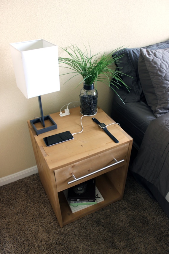 Handcrafted Wooden Nightstand W Usb Charging Ports
