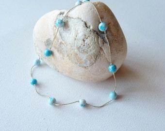 SALE,Vintage Blue Howlite Necklace on Silk String, Blue Hand Knotted Necklace, Simple Vintage Round Blue Beaded Necklace,Blue Beaded Jewelry