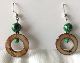 Green jasper and shell earrings