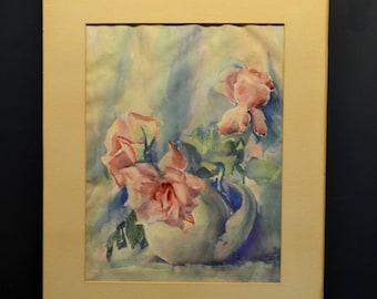 Vintage Original Watercolor Still Life