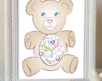 Nursery Art Instant Download / Printable Childrens Wall Art - Teddy - 8 x 10inches / Home Decor