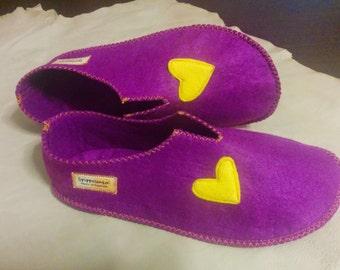 Colorful felt slippers
