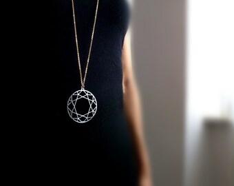 Gold diamond pendant gold necklace silver necklace diamond pendant Diamond shape logn  chain