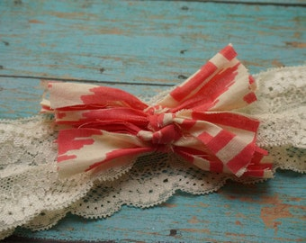 Coral/Ivory scrap bow on lace