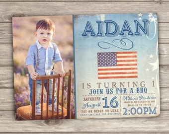 Photo Invitations American BBQ Birthday Rustic Fourth of July Birthday Printable First Birthday Barbecue birthday Blue Boy Digital Download