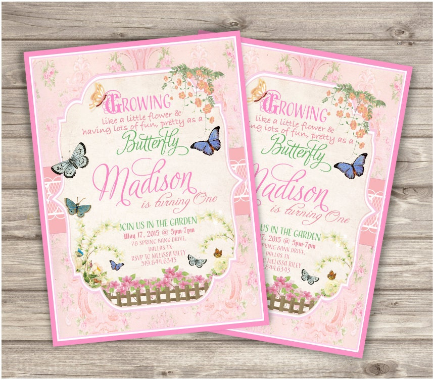 Butterfly Garden Birthday Invitations Printable First By