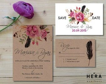 Printable Wedding Invitation Set  |  Wedding invitation + Save-the-Date + RSVP  Bohemian invites  | Kraft and white | Floral |  Rustic Boho