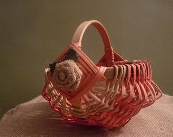 Unique, Vintage pink and tan flower girl basket. Vintage handmade