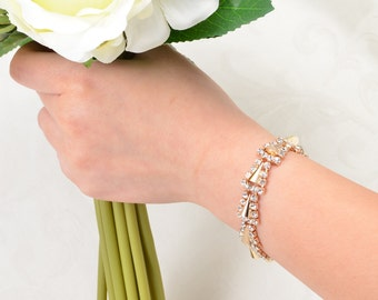 Rhienstone Bracelet - Wedding Bracelet Bridal Jewelry Crystal Bracelet