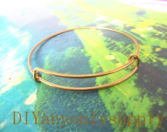 50pieces 1.5mm Thickness/65mm antiqued gold bangle bracelets wire--size adjustable(Does not include pendant)
