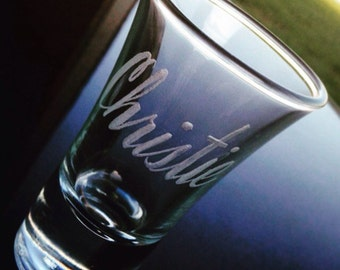 Hand Engraved Personalized Shot Glass in Script Font