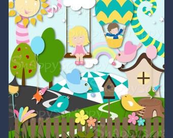 Whimsy Clipart, Children Clipart, Fantasy  Garden Clipart Set.  CU4CU
