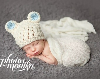 Baby Bear Hat, Animal Hat, Baby Bear Beanie, Baby Boy Hat, Ready to Ship, Newborn Photo Prop, Crochet Baby Hat, Off White Blue, Baby Boy