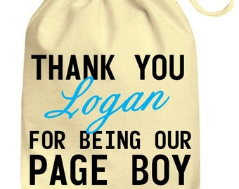 Personalized Wedding Drawstring Cotton Gift Bag Thank You Named For Being Our Page Boy, Personalised Wedding Bag Favors Just Married