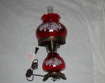 Vintage Cranberry Floral Hurricane Lamp