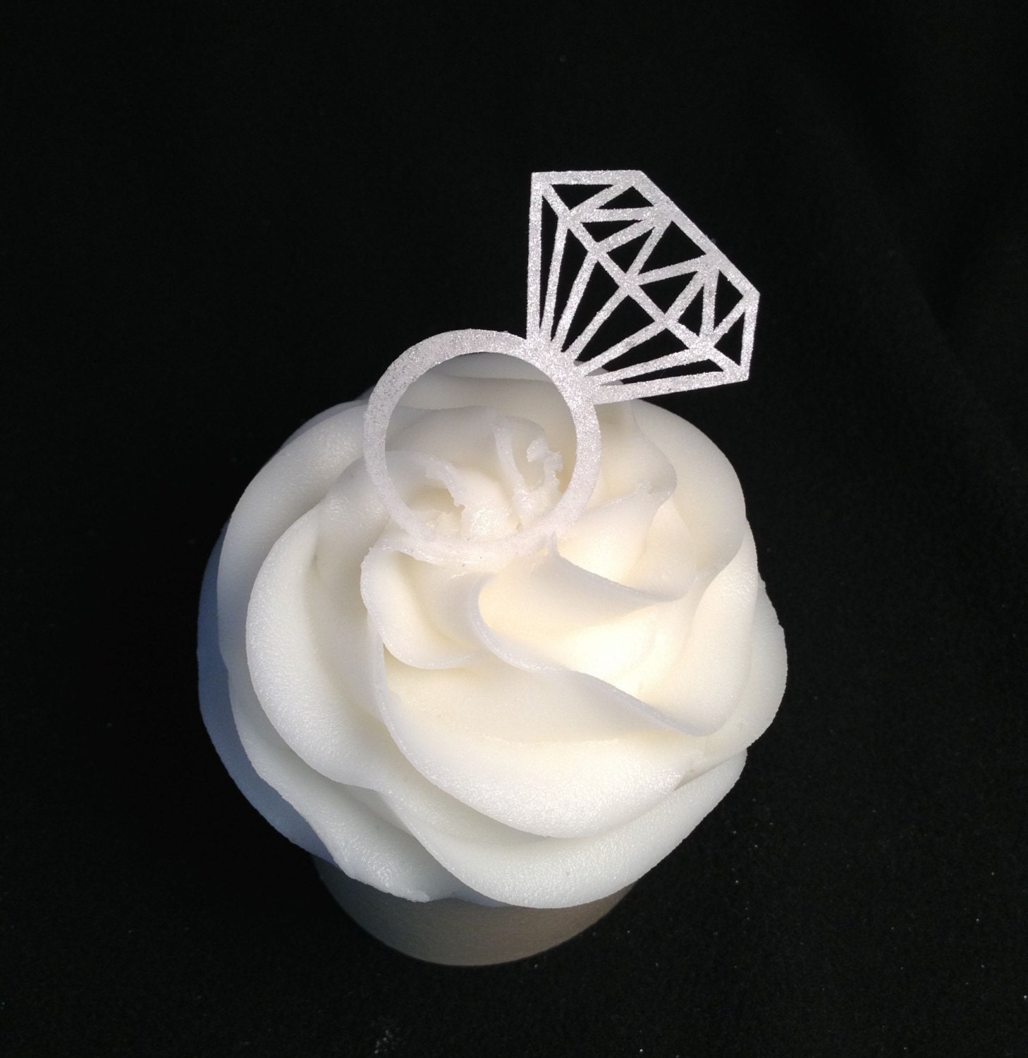 Engagement Ring Cake Decorations : Diamond Ring Thin Edible Paper Cupcake Toppers Engagement