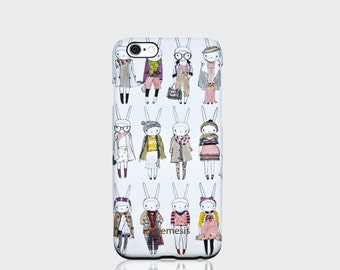 Rabbit Case for iPhone 6, 6s, 6 Plus, 6s Plus, 5s, 5c and 4s. Multi Rabbit print by Fifi Lapin