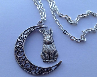 Crescent Moon & Rabbit Bunny Hare Charm Wicca Pagan Necklace