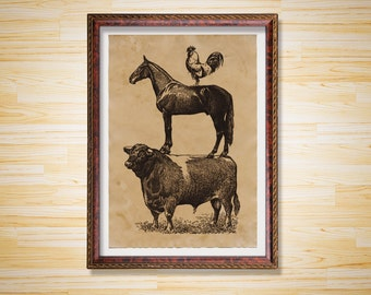 Farm animals print Antique poster Vintage decor