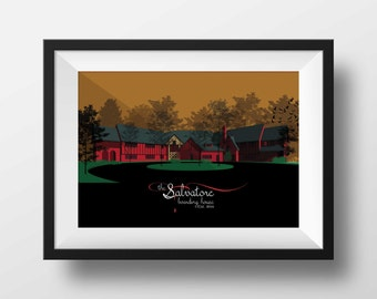 Vampire Diaries Art Print / Salvatore House / TV Memorabilia / Print for Home of Damon, Stefan and Elena