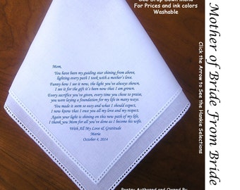 Mother of the Bride Hankie from Bride 0112 Sign & Date for Free!       5 MOB Wedding Hankerchief Styles and 8 Ink Colors.