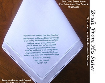 Gift for the Bride Hankie From Sister in Law 0622 Sign & Date Free!    5 Wedding Hankerchief Styles and 8 Ink Colors. Brides Wedding Hankie