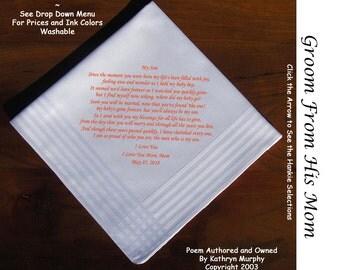 Grooms Gift Hankie From His Mom 0705 Sign & Date Free!      2 Wedding Hankerchief Styles and 8 Ink Colors. Grooms Wedding Hankie