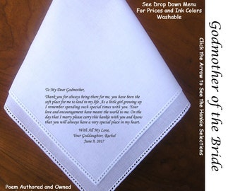 Godmother of the Bride Gift Hankie & Poem 1704  Sign and Date    Free!                5 Wedding Hankie Styles and 8 Ink Colors.