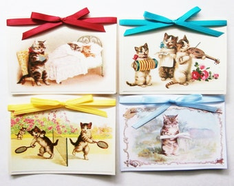 Cat Note Cards, Blank Note Card Set, Kitty Cat Cards, Cat Stationery, Kitten Cards, Cute Cards, Vintage Style Cat Cards for Cat Lovers