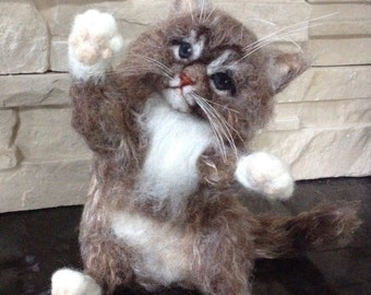 Needle Felted Kitten Cat Cute Animal Memorial Made to Order
