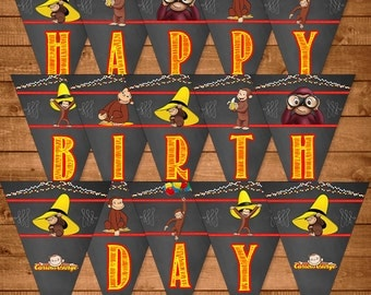 Curious George Birthday Banner Chalkboard Theme - Curious George Happy Birthday Banner - Curious George Birthday - Curious George Printables