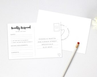 Wedding RSVP Postcard - Printable