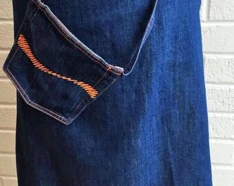 Vintage 1970's denim skirt. Coca-Cola label.  UK size 8-10