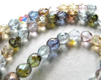 Glass beads, 50 beads, faceted, multicolor, Czech glass, 6mm - #442