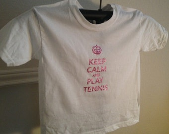 Tennis T Shirt Says Keep Calm and Play Tennis in Pink Glitter- Youth