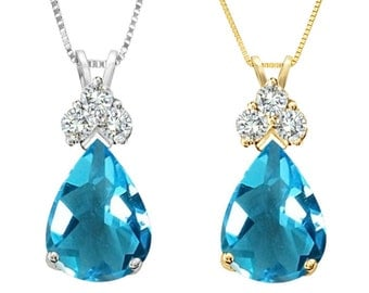 Tousi Jewelers Topaz Pendant- 1.50 ct Blue Topaz in Real Solid 14 k Gold w-3 Accent White sapphire- Nice December Birthstone Gift