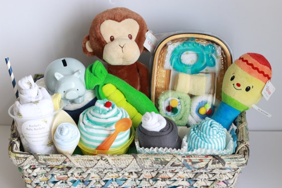 Baby Gift Baskets California : Baby boy gift basket shower newborn