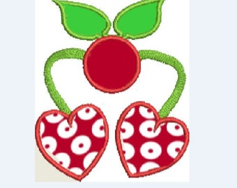 Cherry Heart Machine Applique Design Heart Flower Applique Cherry Embroidery, Leaf Embroidery Applique, Heart 4x4 Applique 5x7 Applique