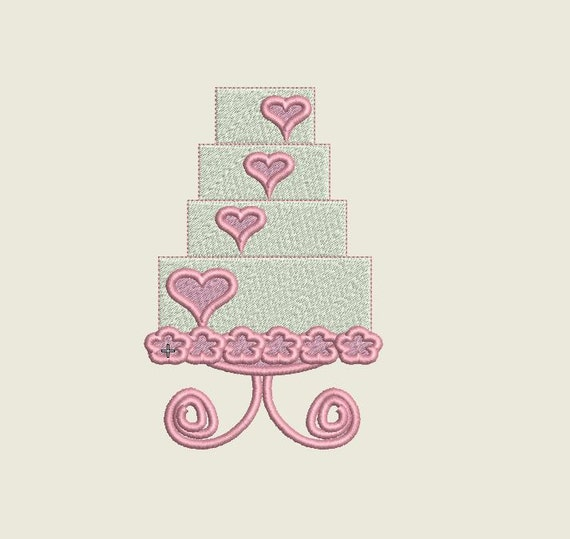 Machine embroidery design wedding cake