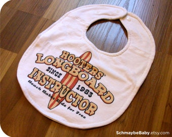 Hooters Recycled T-shirt Baby Bib, Funny Baby Shower Baby Boy Gift, OOAK, Surfing Beach