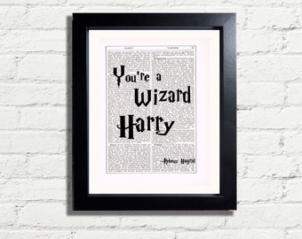 Harry Potter Rebeus Hagrid Quote You're a Wizard Art Print INSTANT DIGITAL DOWNLOAD Printable A4 Pdf Jpegfun Artwork Wall Hanging Ideal Gift