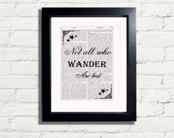 Not All Who Wander Are Lost Inspirational Quote INSTANT DIGITAL DOWNLOAD A4 Printable Pdf Jpeg Image Picture / Poster Wall Hanging Gift Idea
