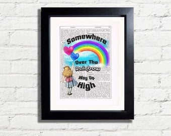 Alice In Wonderland Somewhere Over The Rainbow INSTANT DIGITAL DOWNLOAD A4 Printable Pdf Jpeg Home Decor Colourful Wall Art