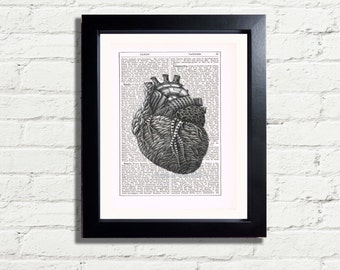 Steampunk Anatomy Heart Diagram Printable Wall Art Print A4 INSTANT DIGITAL DOWNLOAD Vintage Dictionary Style Home Decor Picture Image
