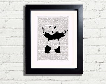 Banksy Panda Graffiti Art Print INSTANT DIGITAL DOWNLOAD A4 Printable Pdf Jpeg Image Wall Hanging Poster Picture Home Decor Gift Idea