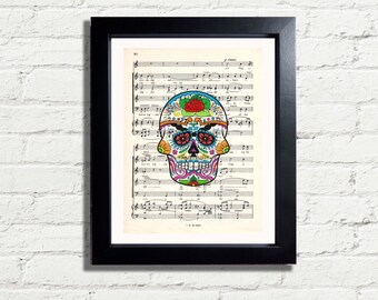 Sugar SKULL Red Rose Picture Fun Music Page Art Print Instant DIGITAL DOWNLOAD 300 dpi Art Print Archival Antique Style Wall Hanging