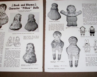 1981 Doll Magazine Article - Reference - History ~ Book and Rhyme Character Pillow Dolls